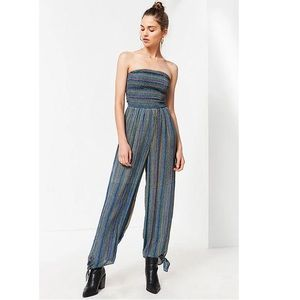 Urban Outfitters Smocked Stripe Wide Leg Jumpsuit